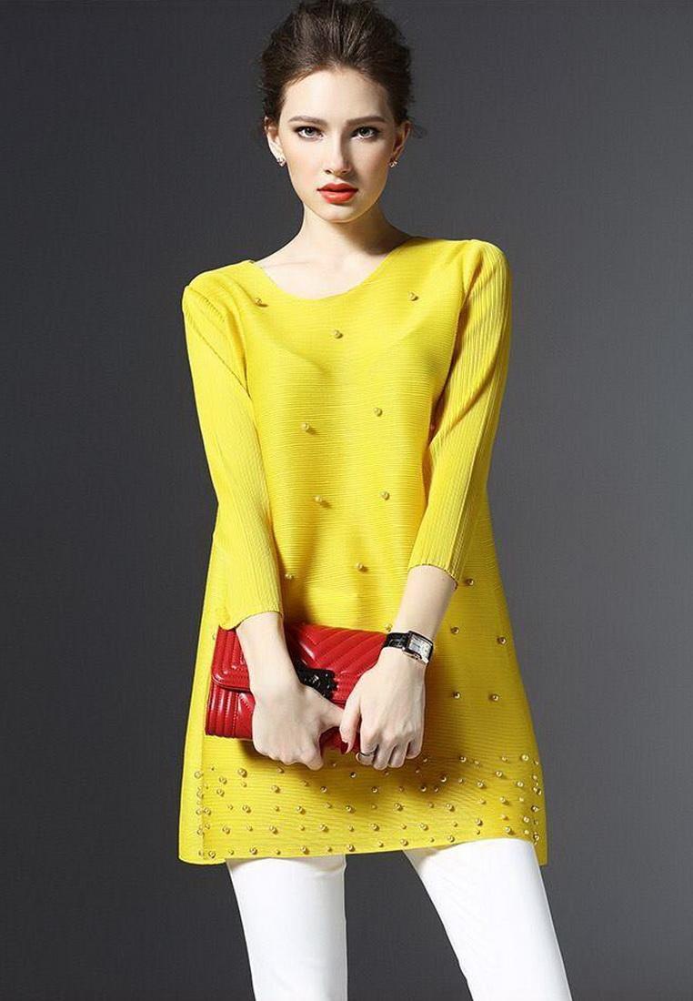 เสื้อสไตล์เกาหลีดีเทล ผ้าพลีทโพลีเอสเตอร์ พิมพ์ลายผ้าสีสด คอกลมแขนยาว ทรงสวย เนื้อผ้าทิ้งตัวสวย การตัดเย็บเรียบร้อย