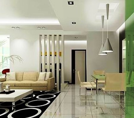 Apartment color schemes open concept l shaped kitchen for Modern dining area ideas